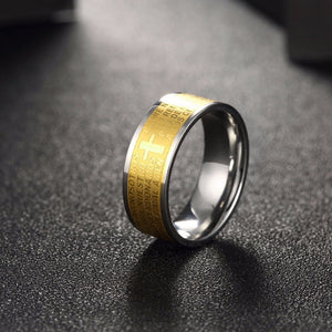 Cross Ring Gold Color Ring Stainless Steel Male Jewelry Luxury 8MM Width Religion - Vera jewelry