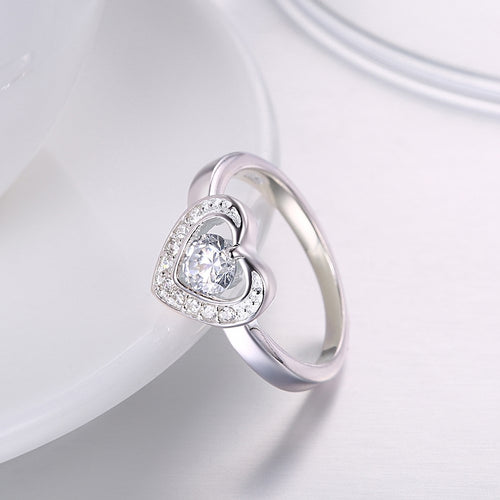 925 Sterling Silver Ring 925 silver rings Romantic jewelry boutique heart-shaped flat ring elegant diamond ring