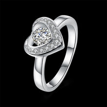 925 Sterling Silver Ring 925 silver rings Romantic jewelry boutique heart-shaped flat ring elegant diamond ring - Vera jewelry