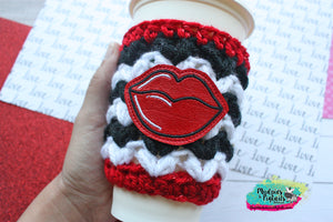 Big Red Lips Valentine's Day Crochet Cup Cozy