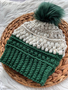 Hunter Forest Green Tweed Colorblock-Adult Crochet Beanie