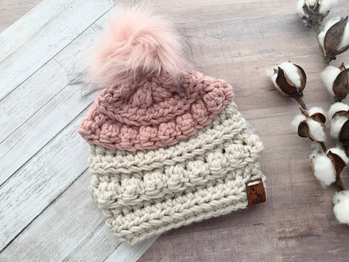 Colorblock Crochet Bobble Beanie Hat-Choose Colors