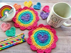 Sweetheart Crochet Coaster-Rainbow Power