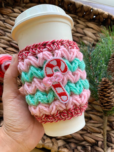Candy Cane Sparkle Cup Cozy