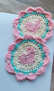 Sweetheart Crochet Coaster-Sweet Pea