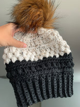 Black Tweed Colorblock-Adult Crochet Beanie