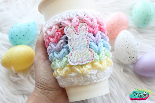 Plaid Easter Bunny Crochet Cup Cozy