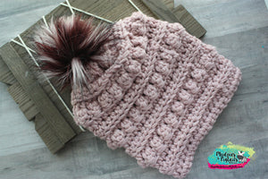 Rosey Cheeks Crochet Bobble Beanie-adult