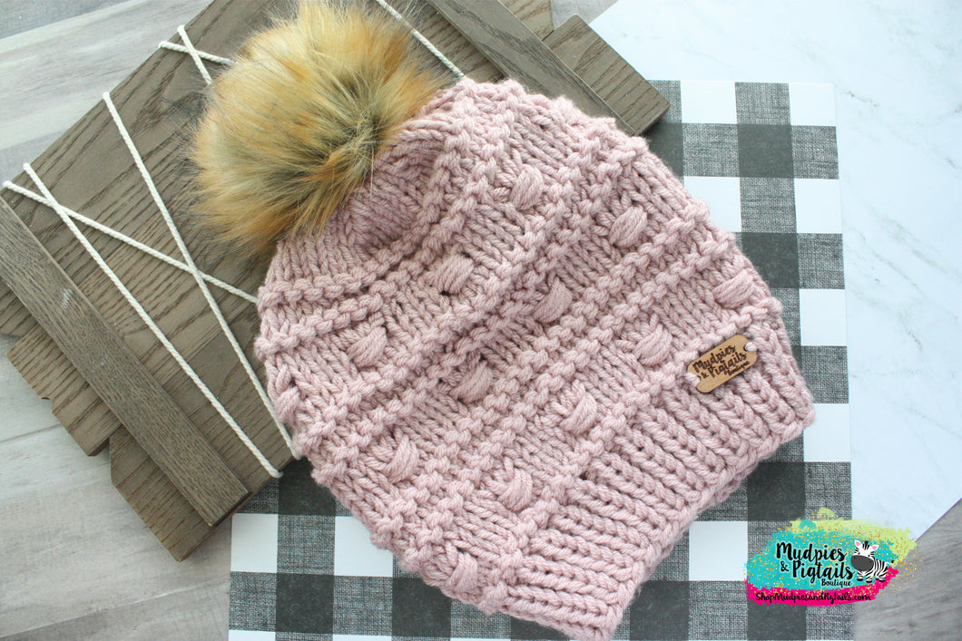 Rosey Cheeks Puff Knit Beanie-adult