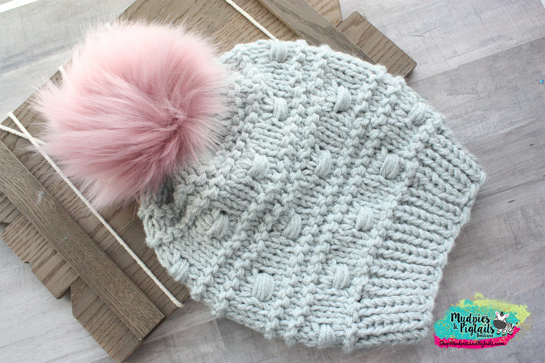 Silver Puff Knit Beanie-adult