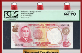 TT PK 0146b 1969 PHILIPPINES 50 PISO PCGS 66 PPQ GEM NEW POP ONE FINEST KNOWN!