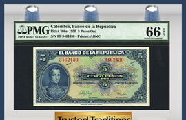 TT PK 0386e 1950 COLOMBIA 5 PESOS ORO PMG 66 EPQ GEM POP TWO NONE FINER!