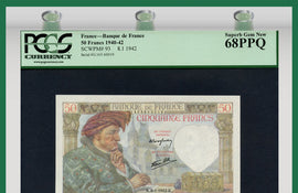 TT PK 0093 1940-42 FRANCE BANQUE DE FRANCE 50 FRANCS PCGS 68 PPQ SUPERB GEM NEW