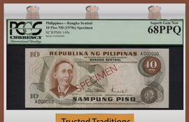 "TT PK 0149s 1970 PHILIPPINES 10 PISO ""SPECIMEN"" PCGS 68PPQ SUPERB GEM NEW POP ONE"