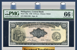 TT PK 0136e 1949 PHILIPPINES CENTRAL BANK 10 PESOS PMG 66 EPQ POP 2 NONE FINER!
