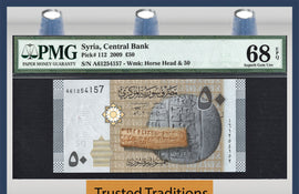 TT PK 0112 2009 SYRIA 50 POUNDS HORSE'S HEAD PMG 68 EPQ SUPERB NONE FINER 1 OF 2