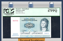 "TT PK 0050e 1982 DENMARK 50 KRONER ""FISH"" PCGS 67 PPQ SUPERB GEM NEW POP ONE"
