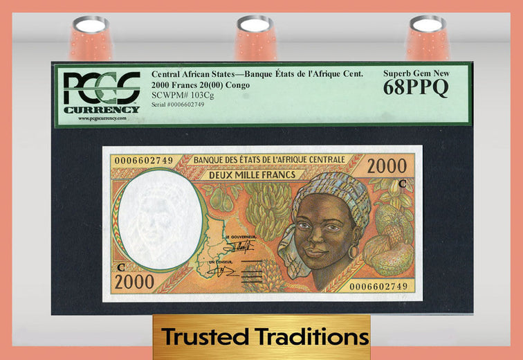 TT PK 0103Cg CENTRAL AFRICAN STATES CONGO 2000 FRANCS PCGS 68 PPQ SUPERB GEM NEW