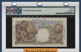 "TT PK 0034 1947-49 GUADELOUPE 50 FRANCS ""WOMEN'S HEAD"" PMG 65 EPQ GEM UNCIRCULATED"