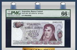 TT PK 0289 1970-73 ARGENTINA 10 PESOS PMG 66 EPQ GEM POP ONE FINEST KNOWN!