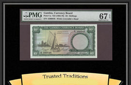 TT PK 0001a 1965-70 GAMBIA 10/ SHILLINGS PMG 67 EPQ SUPERB GEM NEW NONE FINER