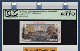 TT PK 0031s 1947-49 GUADELOUPE 5 FRANCS SPECIMEN PCGS 66 PPQ GEM NEW FINEST KNOWN