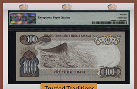 TT PK 0189a 1970 (ND 1972) TURKEY 100 LIRA PMG 66 EPQ GEM UNCIRCULATED POP FIVE!