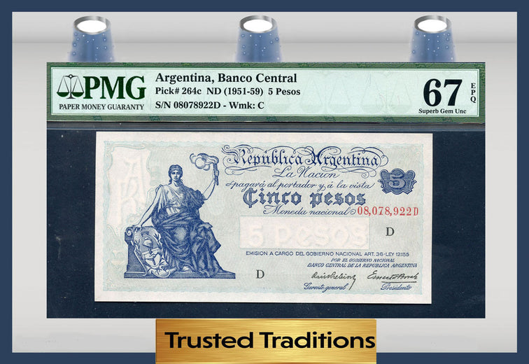 TT PK 0264c 1951-59 ARGENTINA 5 PESOS PMG 67 EPQ SUPERB POP ONE FINEST KNOWN