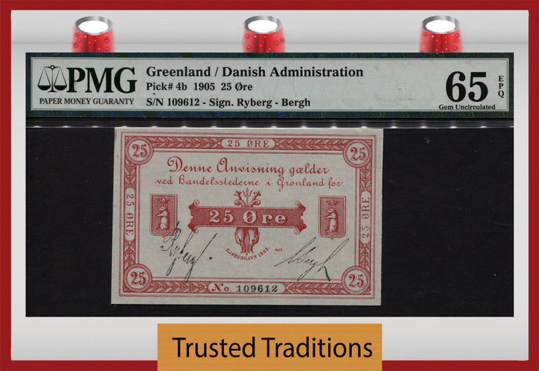 TT PK 0004b 1905 GREENLAND 25 ORE PMG 65 EPQ GEM UNCIRCULATED ONLY TWO FINER!