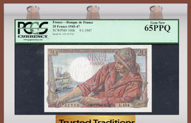 TT PK 0100b 1945-47 FRANCE BANQUE DE FRANCE 20 FRANCS PCGS 65 PPQ GEM NEW