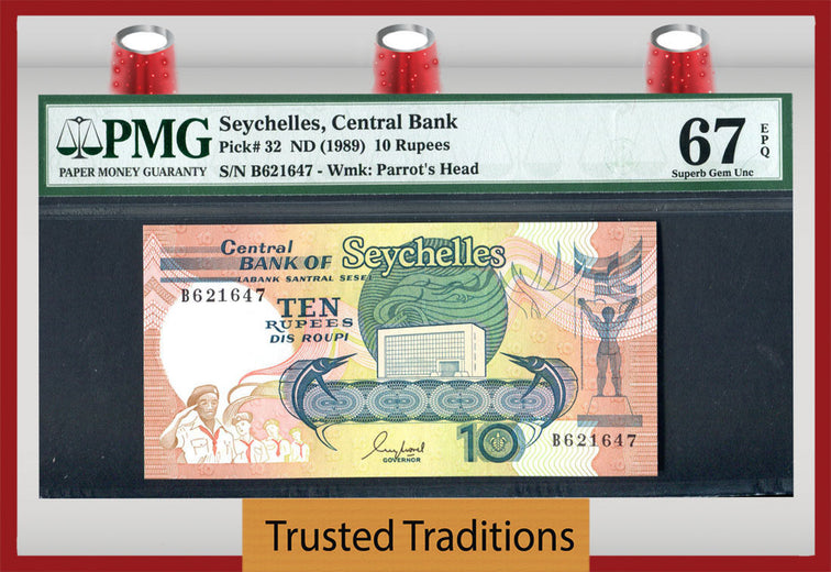TT PK 0032 1989 SEYCHELLES CENTRAL BANK 10 RUPEES PMG 67 EPQ POP ONE FINEST KNOWN!