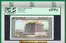 TT PK 0065d 1988 LEBANON 50 LIVRES PCGS 65 PPQ GEM NEW POP ONE FINEST KNOWN!