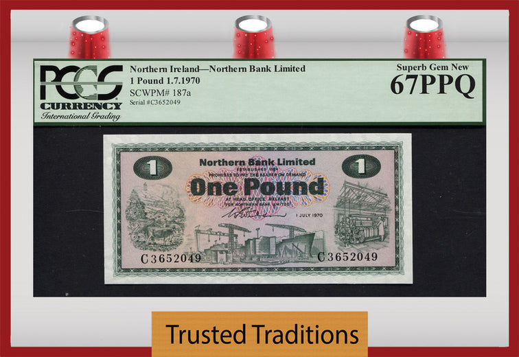 TT PK 0187a 1970 IRELAND - NORTHERN 1 POUND PCGS 67 PPQ SUPERB POP 5 NONE FINER!