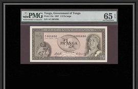 TT PK 0013a 1967 TONGA ½ PA'ANGA PMG 65 EPQ GEM UNCIRCULATED ONLY FEW HIGHER