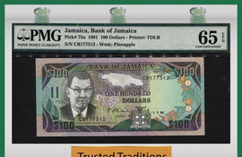 "TT PK 0075a 1991 JAMAICA 100 DOLLARS ""SAMUEL SHARPE"" PMG 65 EPQ GEM UNC POP TWO!"