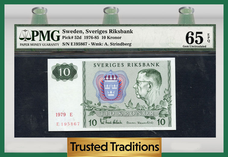 TT PK 0052d 1976-85 SWEDEN 10 KRONOR PMG 65 EPQ GEM POP ONE FINEST KNOWN!