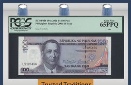 TT PK 0194a 2001 PHILIPPINES 100 PISO LADDER UP SERIAL # 123456 PCGS 65 PPQ GEM