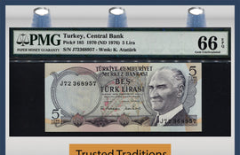 TT PK 0185 1970 (ND 1976) TURKEY 5 LIRA PMG 66 EPQ GEM UNCIRCULATED POP SIX!