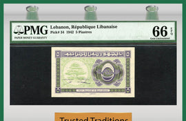 TT PK 0034 1942 LEBANON 5 PIASTRES PMG 66 EPQ GEM UNCIRCULATED NONE FINER