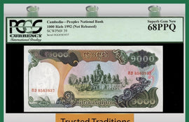 TT PK 0039 1992 CAMBODIA 1000 RIELS PCGS 68 PPQ SUPERB GEM NEW POPULATION ONE