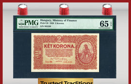 TT PK 0058 1920 HUNGARY 2 KORONA PMG 65 EPQ GEM POP ONE FINEST KNOWN!