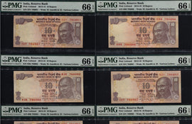 TT PK UNL 2013-16 INDIA 10 RUPEES SEQUENTIAL SACRED S/N 786001 THRU 786010 TEN PMG 66'S