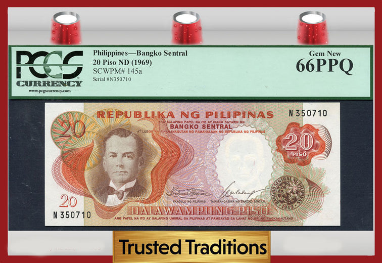 TT PK 0145a 1969 PHILIPPINES 20 PISO PCGS 66 PPQ NONE FINER!