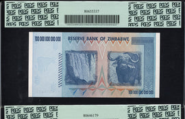 TT PK 0091 & PK 88 2008 ZIMBABWE 100 & 10 TRILLION SET OF 2 NOTES PCGS 69 PPQ