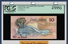 TT PK 0004a 1987 COOK ISLANDS 10 DOLLARS EXOTIC RARE SERIAL NUMBER 123 PCGS 67 PPQ