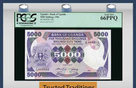 TT PK 0024b 1986 UGANDA 5000 SHILLINGS PCGS 66 PPQ GEM NEW NONE FINER!