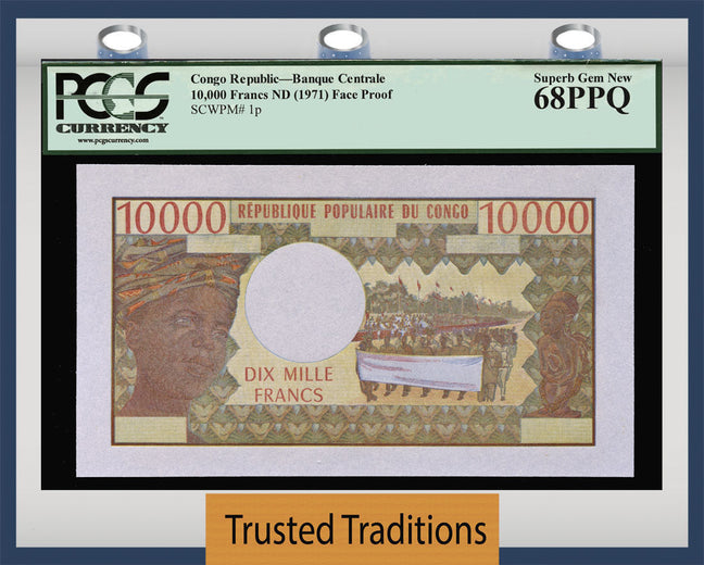 TT PK 0001p CONGO REPUBLIC 10000 FRANCS PCGS 68 PPQ SUPERB GEM NEW POP 3 NONE FINER