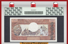 TT PK 0001 1974 CENTRAL AFRICAN REPUBLIC 500 FRANCS PCGS 66 PPQ 1ST ISSUED BANKNOTE