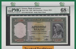 TT PK 0110a 1939 GREECE 1000 DRACHMAI PMG 68 EPQ SUPERB GEM TOP POP NONE FINER