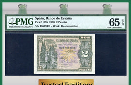 TT PK 0109a 1938 SPAIN 2 PESETAS PMG 65 EPQ GEM UNCIRCULATED POP TWO